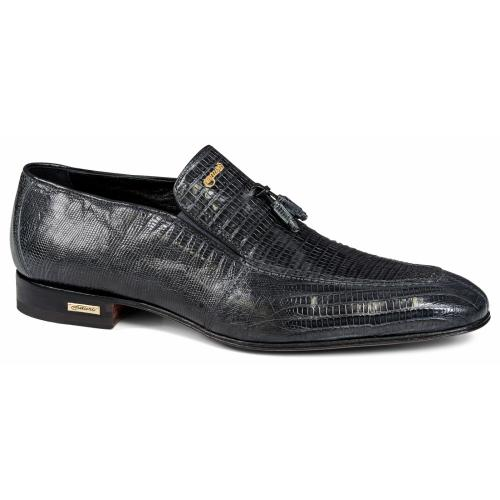 "Mauri ""4705/4"" Charcoal Grey Genuine Lizard Loafer Shoes With Tassel."