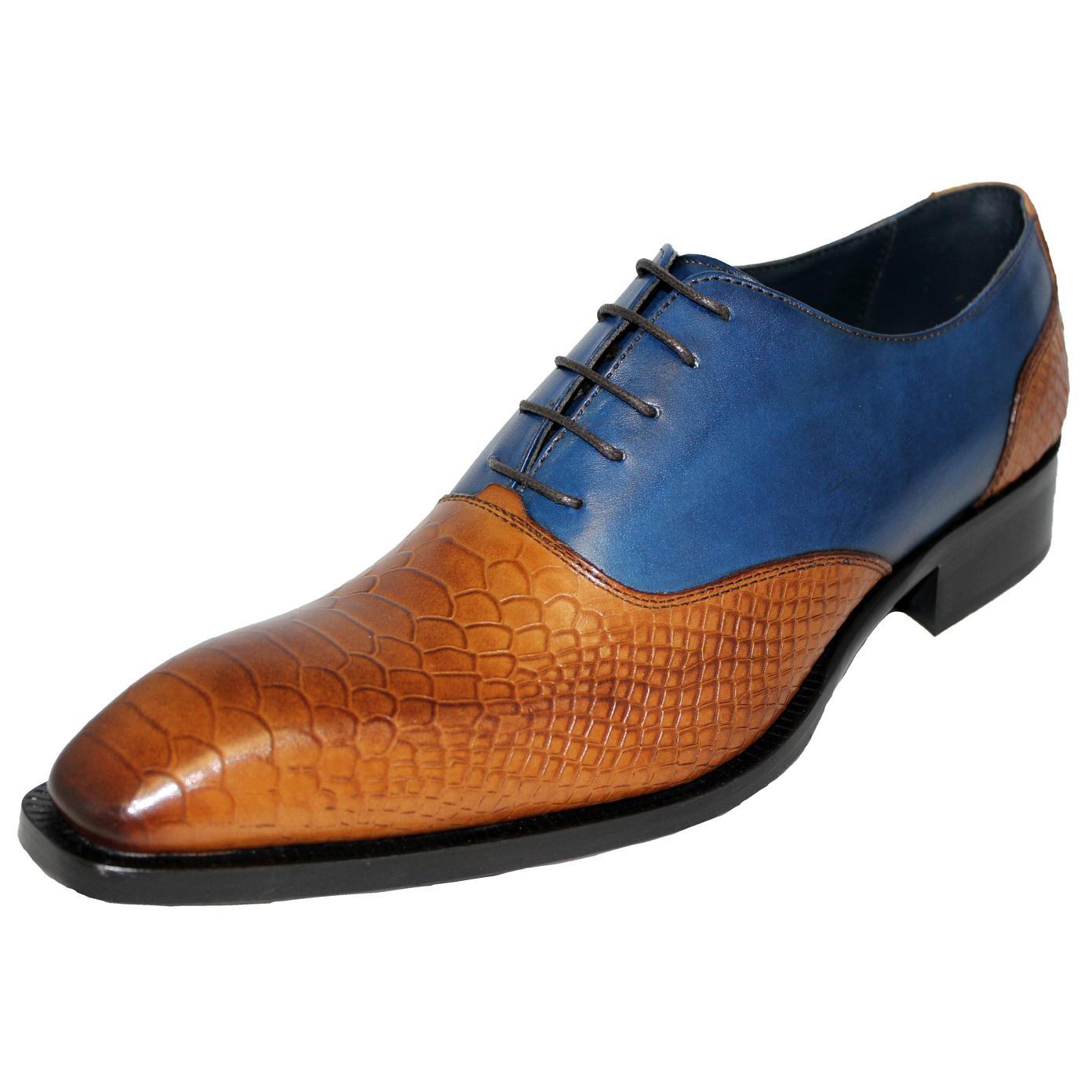 Duca Di Matiste Royal Blue Croc Print Driver Loafer Shoes