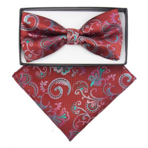 Classico Italiano Red / Pink / Sea Green Floral Design Silk Bow Tie / Hanky Set BH2466