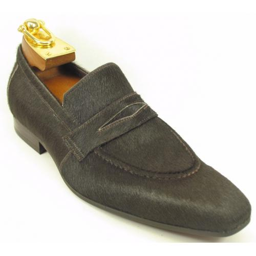 Carrucci Brown Genuine Pony Hair Loafer Shoes KS1377-06H.
