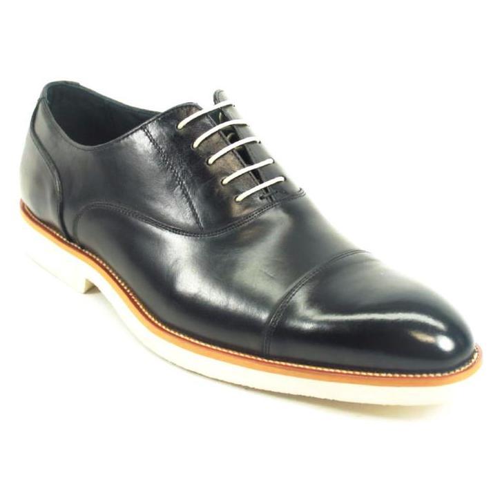 Carrucci Black Genuine Leather Oxford