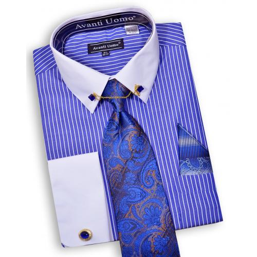 Avanti Uomo Royal Blue White Pinstripe Dress Shirt Tie Hanky Cufflinks Collar Bar Set