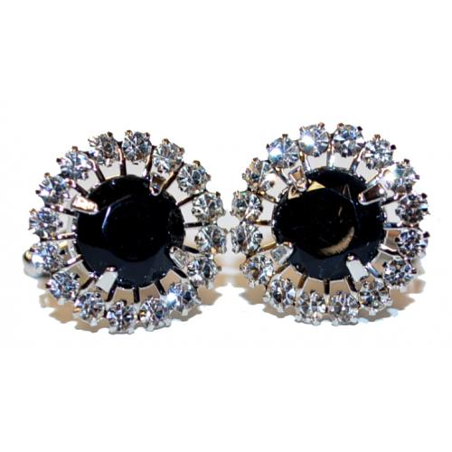 Fratello Silver Plated / Black Onyx Rhinestone Round Cufflink Set CL969B