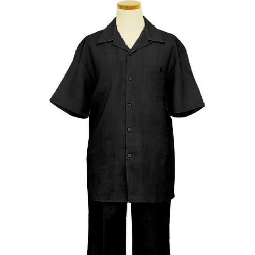 Successos Black 100% Linen 2 Piece Short Sleeve Outfit SP1065