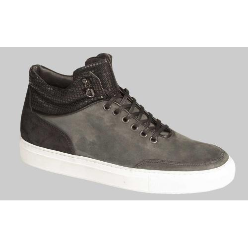 "Bacco Bucci ""Abati"" Grey Genuine Old English Suede With Calfskin Hi-Top Sneakers 6181-36."