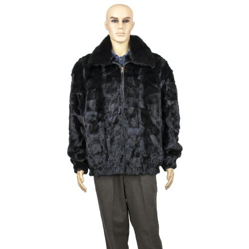 Winter Fur Black Men's Diamond Mink Jacket With Full Skin Mink Collar M49R01BK.