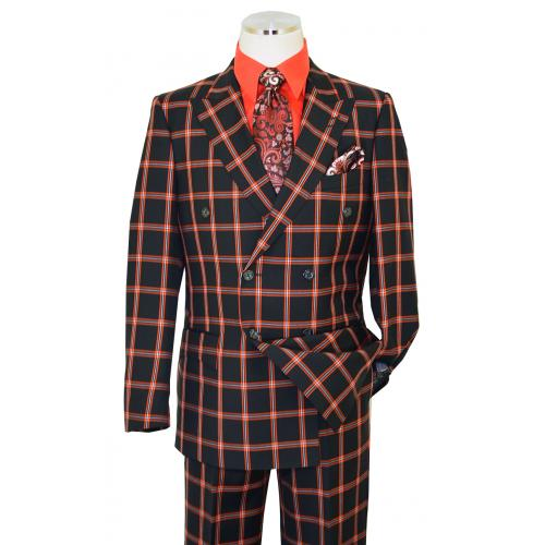 Luciano Carreli Black / Red Windowpane Super 150's Wool Wide Leg Double Breasted Suit 8687-9504
