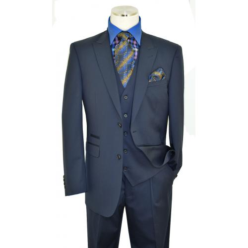 Extrema Solid Navy Blue Super 150's Wool Vested Wide Leg Suit E1013CK