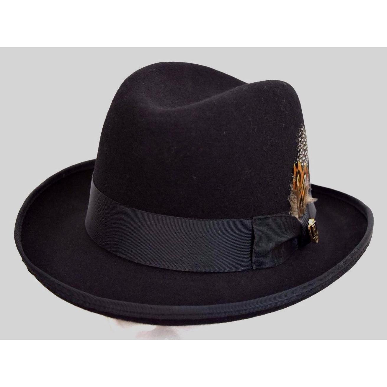 Men/'s 100/% Wool Black Godfather Fedora Style Hat