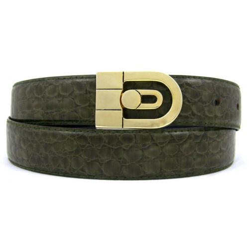 Serpi Olive Green Baby Alligator Print Genuine Leather Belt F10/30