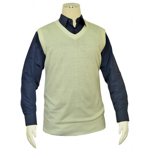 Bagazio Ivory V-Neck Pull-Over Sweater Vest BM1279