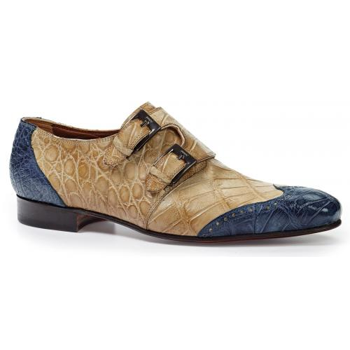 "Mauri ""1010"" Caribbean Blue / Bone Genuine Body Alligator Hand Painted Burnished Double Monk Strap Shoes."