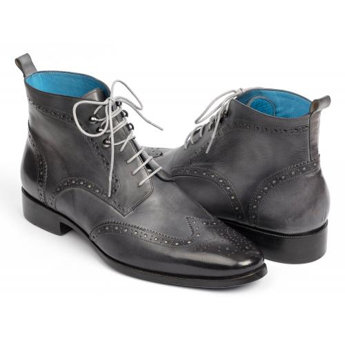 Paul Parkman 777 Grey Hand-Painted Wingtip Ankle Boots.