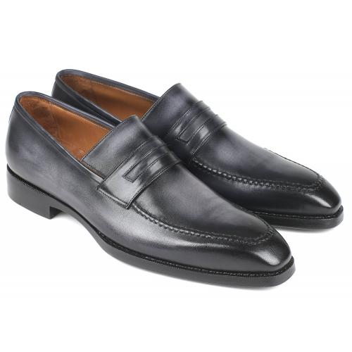 "Paul Parkman ""37LFGRY"" Grey Burnished Goodyear Welted Loafers Shoes."