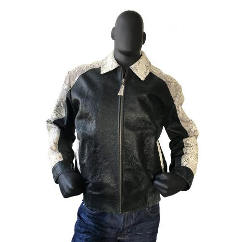 G-Gator Black Distressed Leather Bomber Jacket With Python Trimming 2095.
