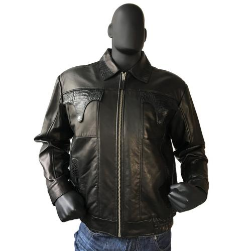 G-Gator Black Leather Bomber Jacket With Alligator Pocket / Collar / Back Trimming 2035.
