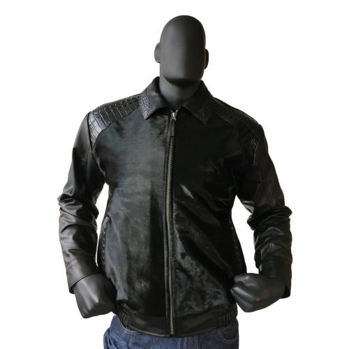G-Gator Black Genuine Pony Leather Jacket With Alligator Trimming 2024.