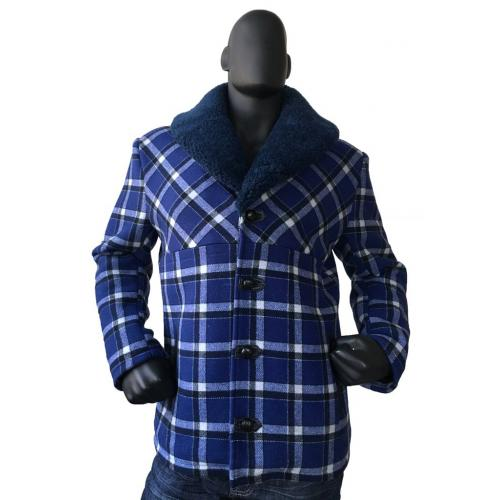 G-Gator Blue Genuine Wool Sherpa Car Coat With Mouton Shawl Collar 2400.
