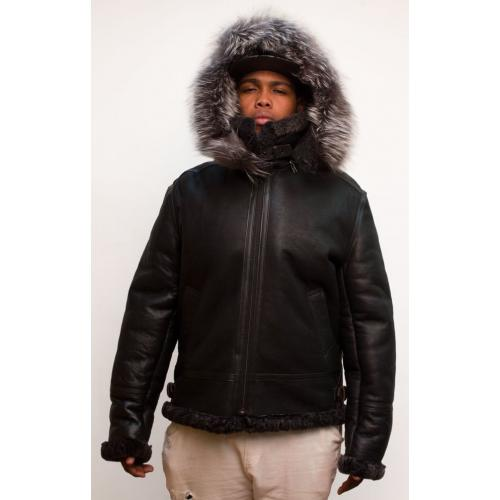 G-Gator Black Genuine Shearling Sheepskin Aviator Jacket With Removable Hood / Raccoon Fur 800.