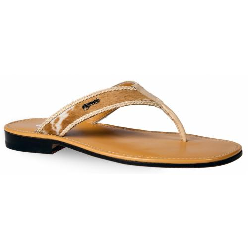 "Mauri ""1481/3"" Cream Genuine Calf Leather / Maculated Cream - Dune Pony Hair Sandals."