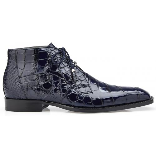 "Belvedere ""Stefano"" Navy Genuine All Over Alligator Lace-up Ankle Boots R17."