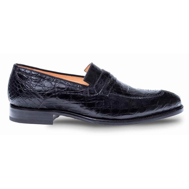 32ea3dffa6e Mezlan Bixby Black Genuine Crocodile Penny Loafer Shoes 4366-C ...