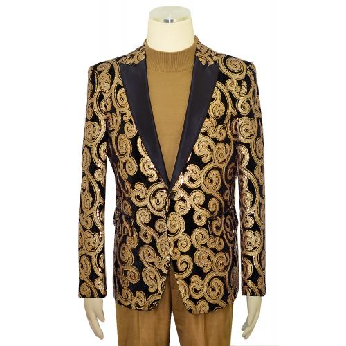 Pronti Black / Tan / Metallic Bronze Abstract Sequined Velvet / Satin Blazer B6362