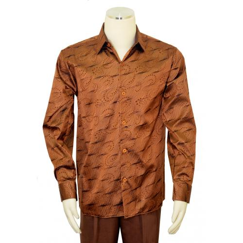 Pronti Metallic Bronze / Brown / Black Lurex Embroidered Long Sleeve Shirt S6350