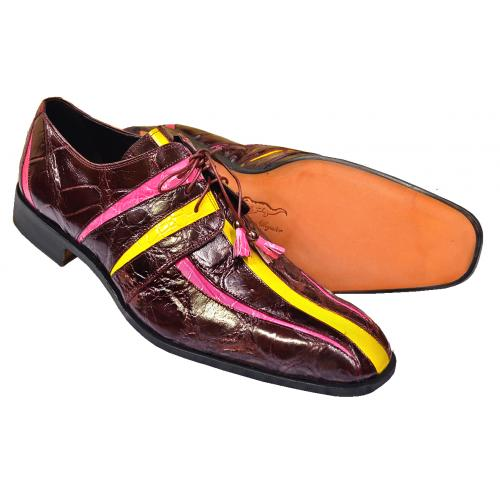 "Mauri ""4068"" Burgundy / Fuchsia / New Yellow All Over Genuine Alligator Shoes"