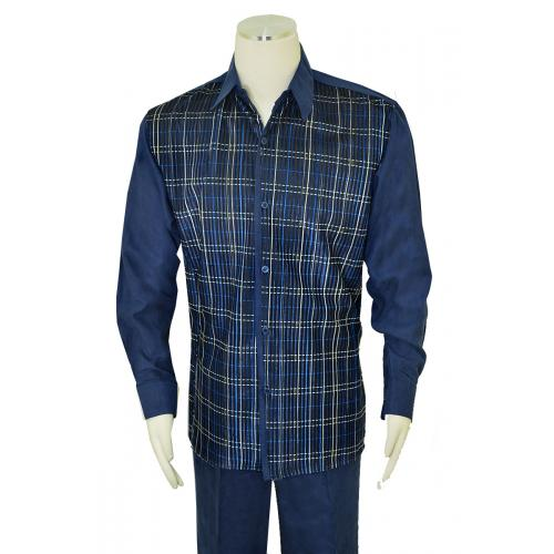 Pronti Navy / White / Black / Royal Blue Plaid Velvet / Microsuede Outfit SP6348