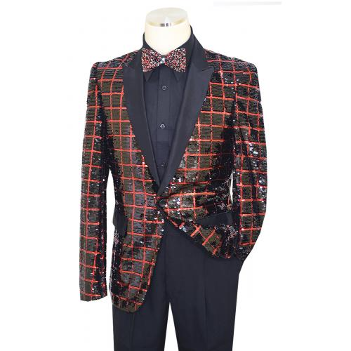Pronti Black / Red Metallic Sequined Windowpane Design Satin Blazer B6363