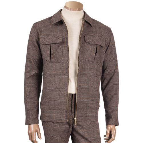 Inserch Brown / Rust / Beige / Blue Woven Tweed Zip-Up Jacket Outfit 303
