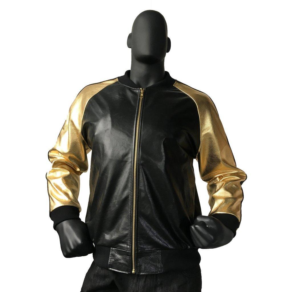 abb78f231ecf3b G-Gator Black / Gold Genuine Lamb Skin Baseball Jacket With Stripes 1095.