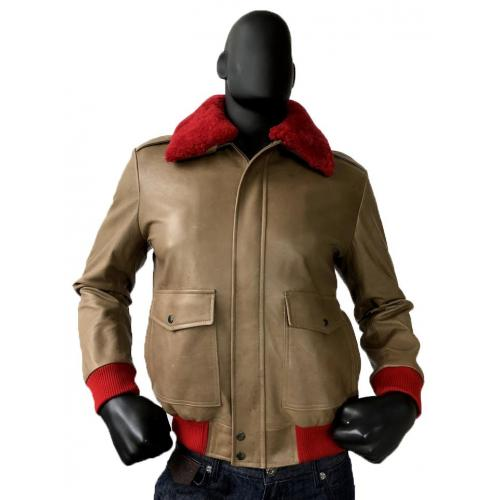 G-Gator Beige Genuine Lambskin A-2 Bomber Jacket With Red Sheepskin Removable Collar 2800.