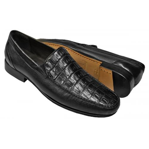 Lombardy Black Genuine Crocodile / Pebbled Lambskin Moc Toe Loafers A04