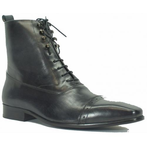 Carrucci Charcoal Genuine Leather Lace-up Zip Boots KB524-13.