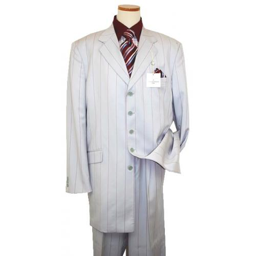 Raspinni Light Grey/Wine Pinstripes Super 100'S Wide Leg Wool Suit
