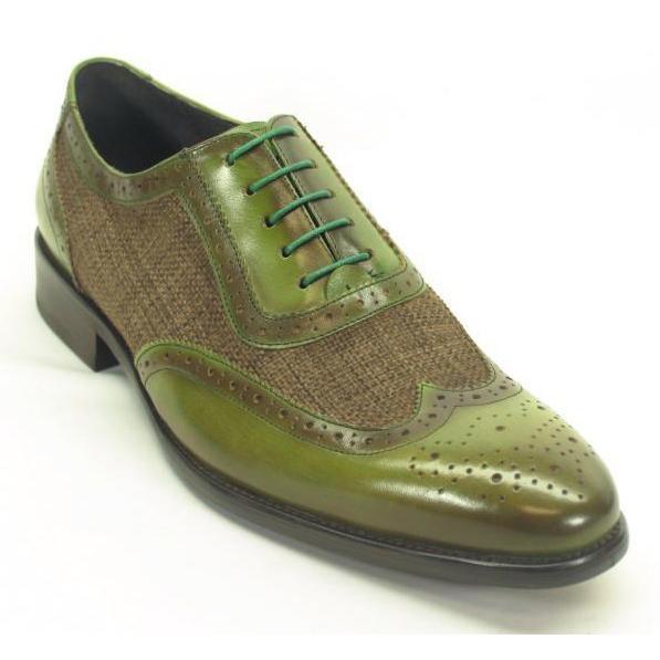 Carrucci Olive Genuine Plaid Leather