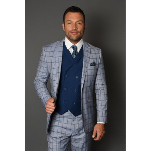 "Statement ""Karino"" Blue / Navy / Caramel Windowpane Super 150's Wool Vested Modern Fit Suit"