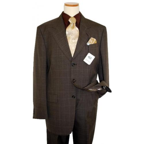 Claudio Morelli Brown with Silver Grey Windowpanes Super 100'S Wool Blend Suit