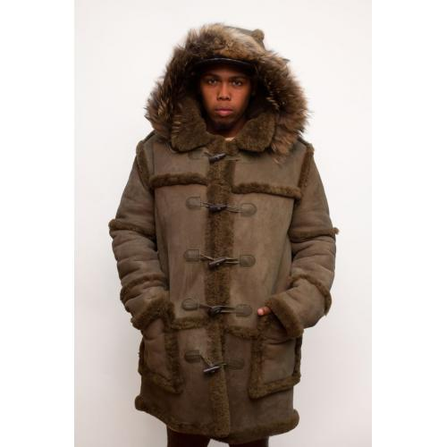 G-Gator Cognac Genuine Sheepskin Suede Toggle Closer Long Jacket With Hood 4100.