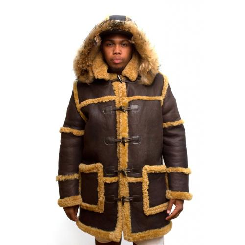 G-Gator Brown / Cream Genuine Sheepskin Toggle Closer Long Jacket With Hood 4100.