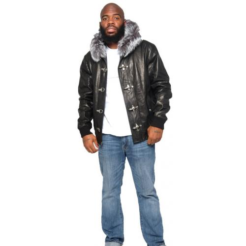 G-Gator Black / Silver Genuine Leather / Fox Fur Bomber Jacket With Hood 3460.