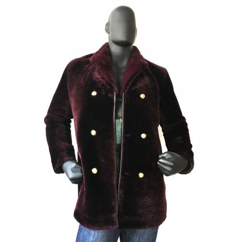 G-Gator Antique Burgundy Genuine Sheepskin / Mink Fur 3/4 Shearling Pea Coat 0440M.