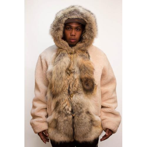 G-Gator Beige Genuine Sheepskin / Raccoon Fur Bomber Jacket With Hood 6800.