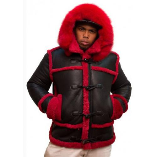 G-Gator Black / Red  Genuine Sheepskin Toggle Closer Parka Jacket 4700.