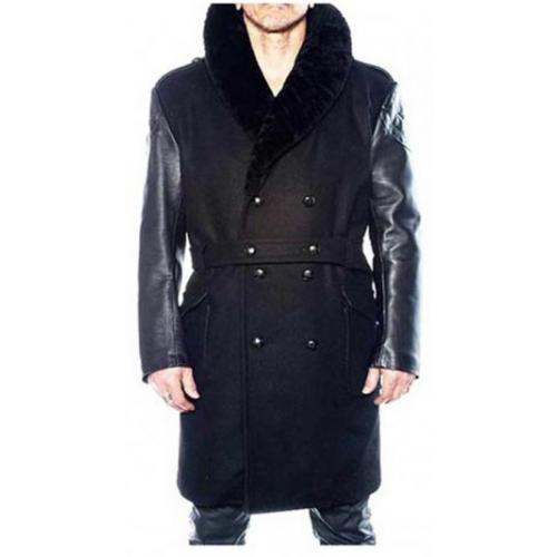 G-Gator Black Genuine Sheepskin / Leather / Wool Trench Length Pea Coat 1400/1.