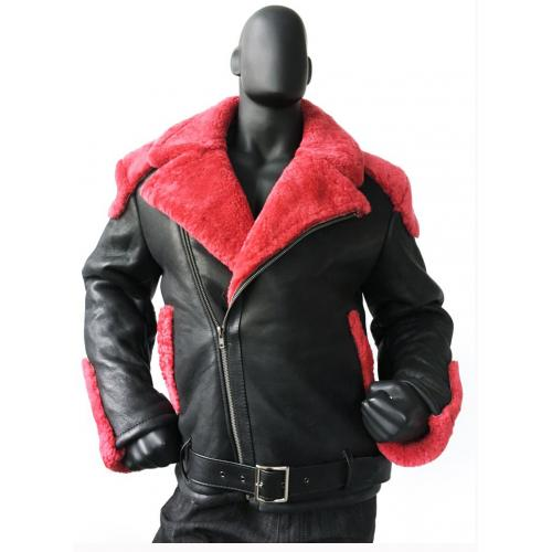 G-Gator Black / Red Genuine Sheepskin Shearling / Napa Motorcycle Jacket 1310.
