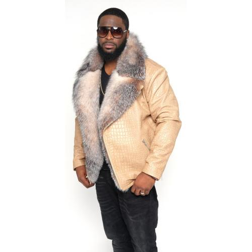 G-Gator Beige Genuine Leather / Fox Fur Alligator Embossed Jacket 7100.