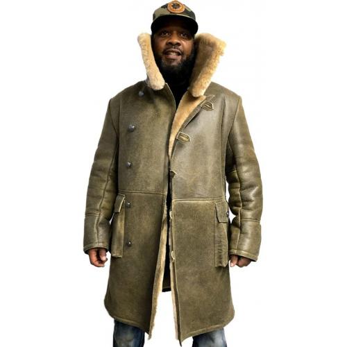 G-Gator Green Genuine Sheepskin Warm Winter Button-Up Trench Coat 6110.